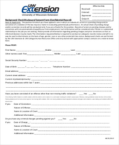 background check disclosure consent form