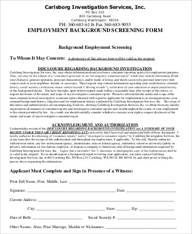 employee background screeing form