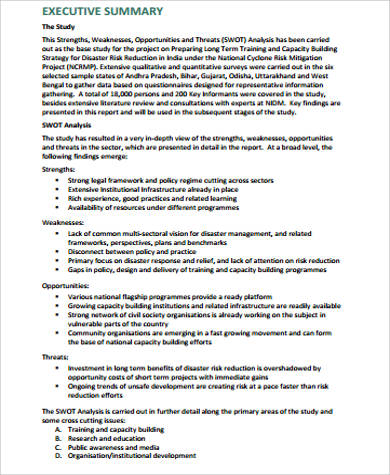 Swot Analysis Sample  Free Sample Example Format Download