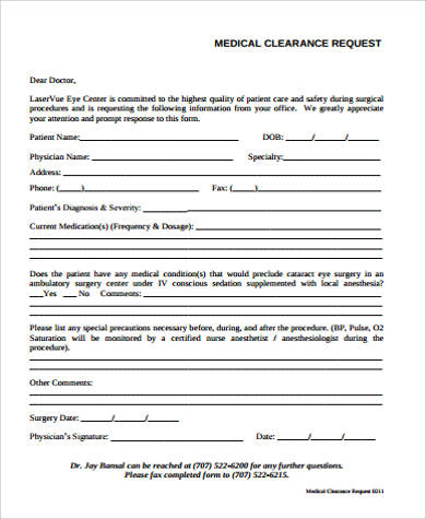Sample Medical Clearance Request Form