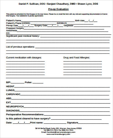 preoperative evaluation template - 10 sample medical clearance forms sample templates