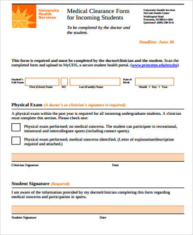 Sample medical clearance form 10 examples in word pdf student medical clearance form example yadclub Image collections