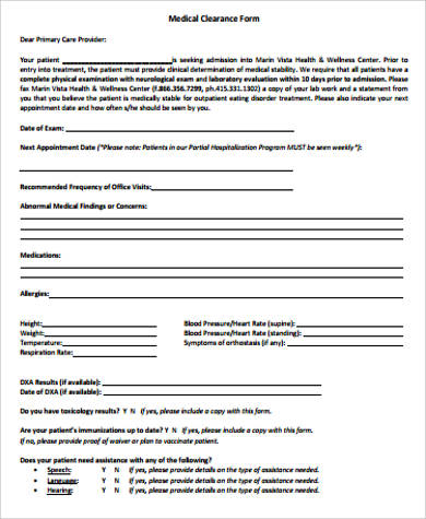 medical clearance form example