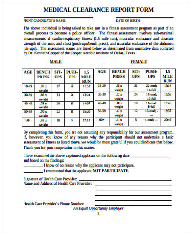 medical clearance report form