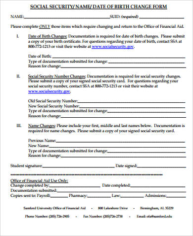 Sample Name Change Form - 10+ Examples in Word, PDF
