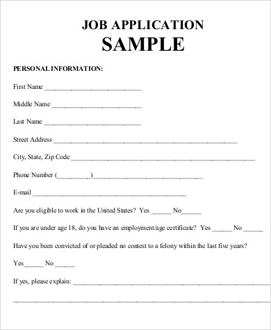 practice job application sample 7 examples in word pdf