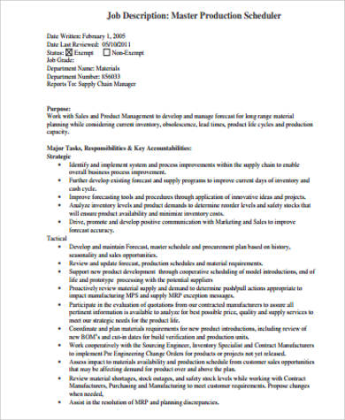 Scheduler Job Description Sample   Examples In Word Pdf