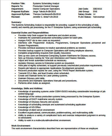 scheduler job description sample 11 examples in word pdf - Subway Job Description Resume