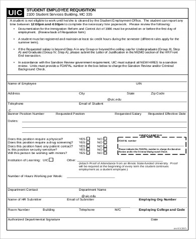 Sample Employee Requisition Form   Examples In Word Pdf