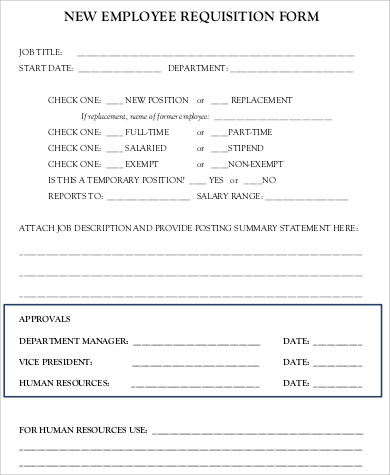 sample new employee requisition form