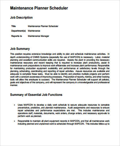 Scheduler Job Description Sample - 11+ Examples In Word, Pdf
