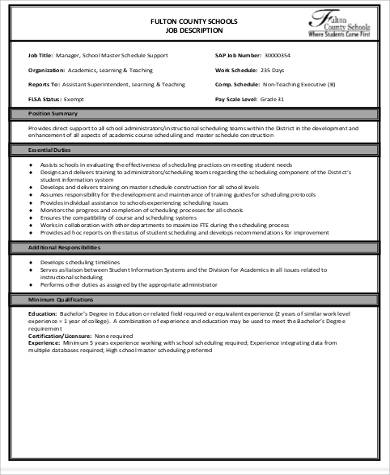 school master scheduler job description in pdf
