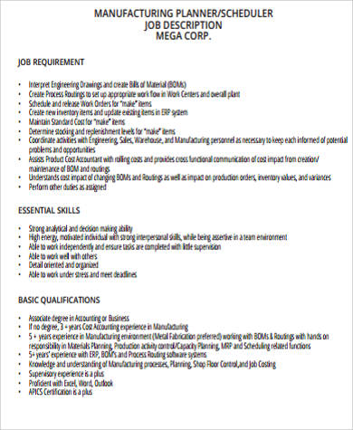 Production Scheduler Job Description Sample - 7+ Examples In Word, Pdf