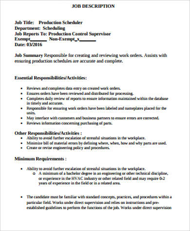 Production Scheduler Job Description Sample   Examples In Word Pdf