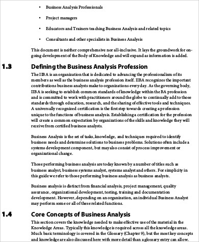Sample Business Analysis  Free Sample Example Format Download