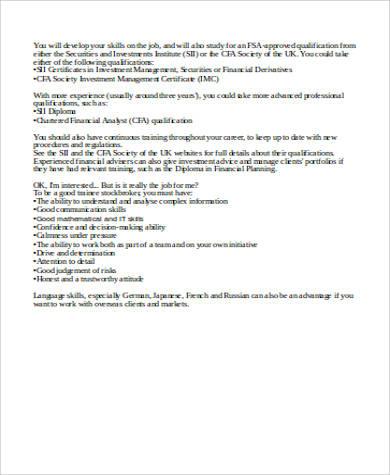 Stock Broker Trainee Job Description