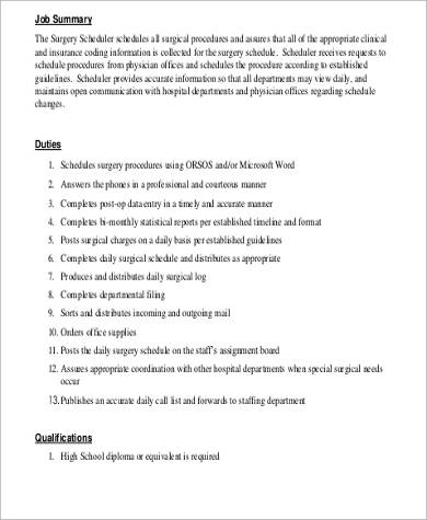 Surgery Scheduler Job Description Sample - 6+ Examples In Word, Pdf