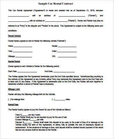 contract for car rental agreement
