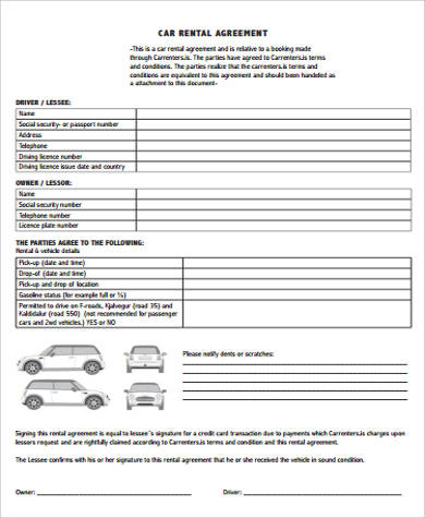 Car Rental Agreement Samples  Free Sample Example Format