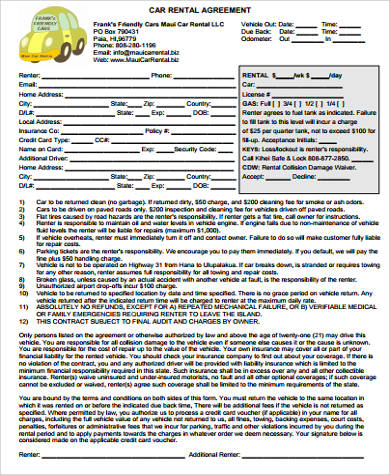 free printable car rental agreement form sample