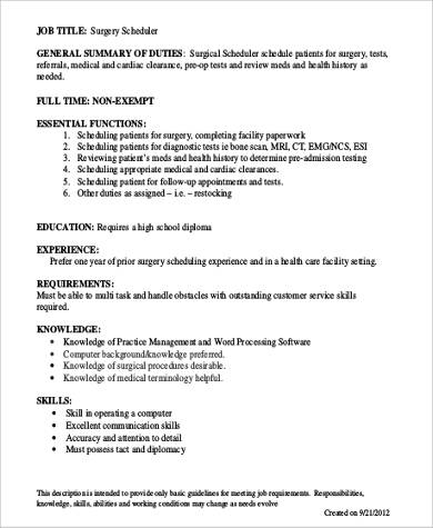 Surgery Scheduler Job Description Bachelor Of Science In