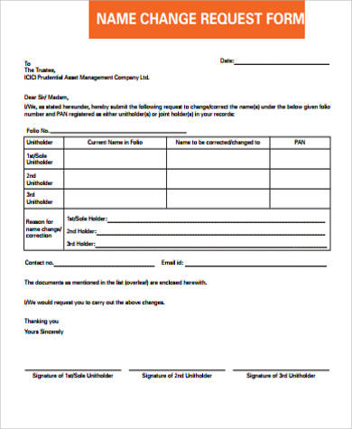 sample name change request form