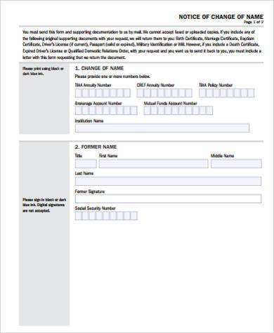 sample name change notice form