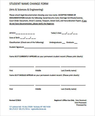 student name change form pdf