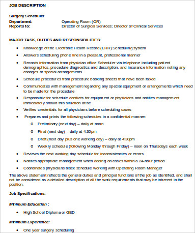 Scheduler Job Description  BesikEightyCo