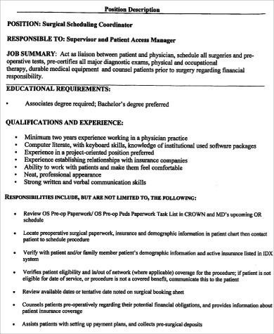 Surgery Scheduler Job Description Sample   Examples In Word Pdf