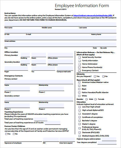 Sample Employee Form   Examples In Word Pdf