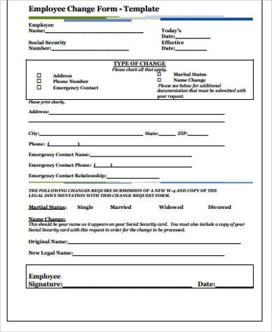 Employee Change Form. Employment Status Salary Change Form Sample ...