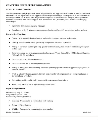 12 Programmer Job Description Samples Sample Templates