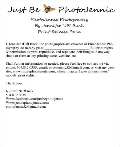 8 print release form samples sample templates for Free photography print release form template