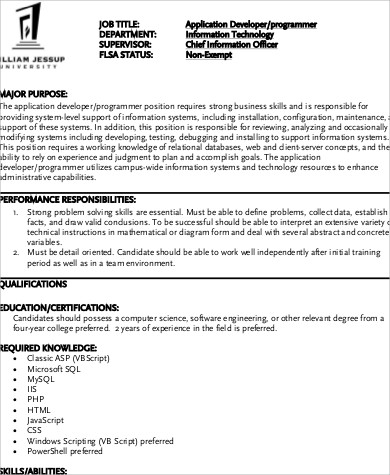 Programmer Job Description Sample - 12+ Examples in Word, PDF