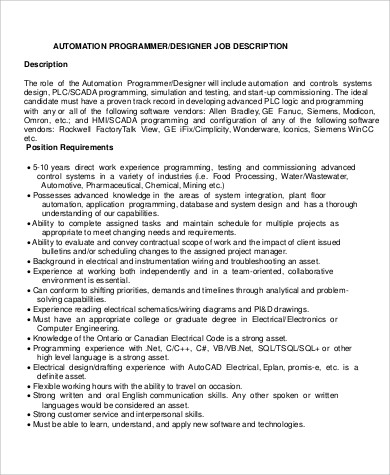 Programmer Job Description Sample   Examples In Word Pdf