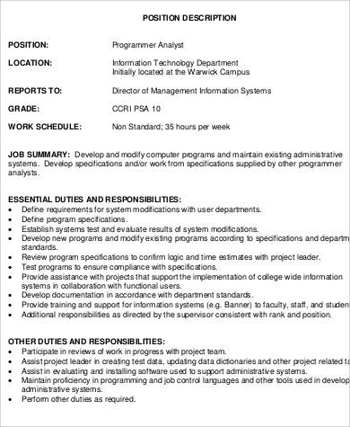 Perfect Job Description For Computer Programmer