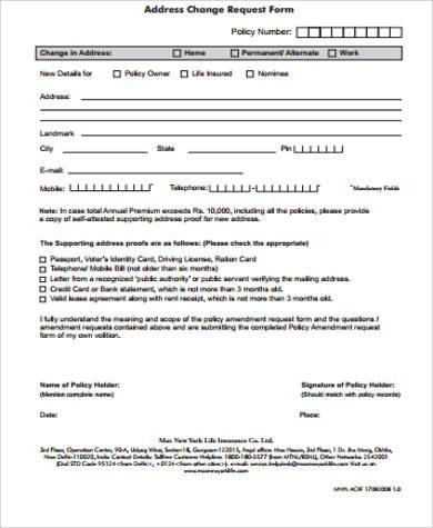address change request form