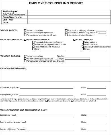 Employee-Counseling-Report-Form Da Form For Lost Id Card Example on