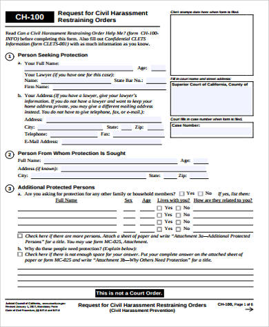 Sample Restraining Order Form   Examples In Word Pdf