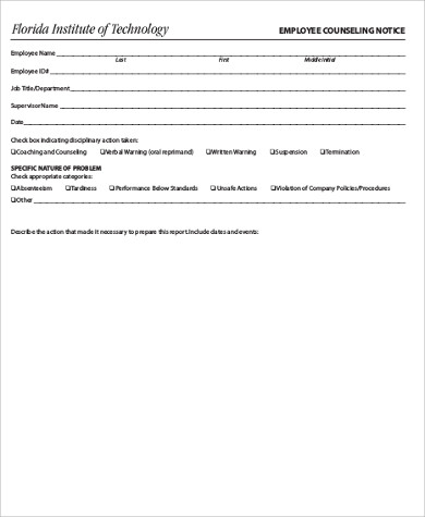 employee counseling notice form
