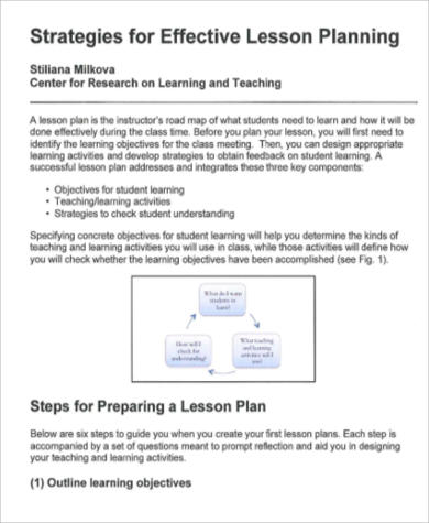 6 Sample Lesson Plan Objectives Sample Templates