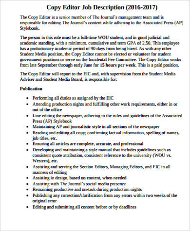 Editor Job Description Sample - 10+ Examples In Word, Pdf