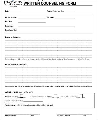 employee written counseling form pdf
