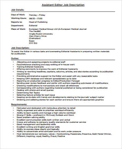 editor assistant job description