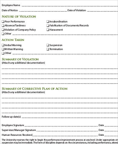 Sample Employee Counseling Form   Examples In Word Pdf