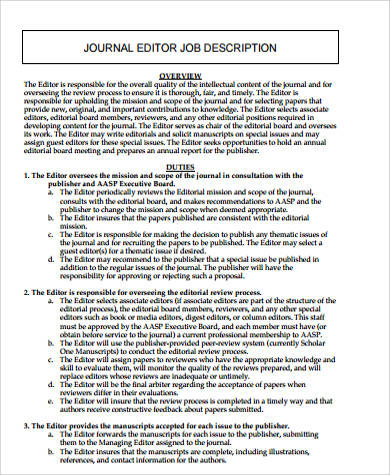 Editor Job Description Sample   Examples In Word Pdf