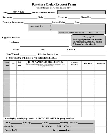 Purchase Order Form Sample   Examples In Word Pdf