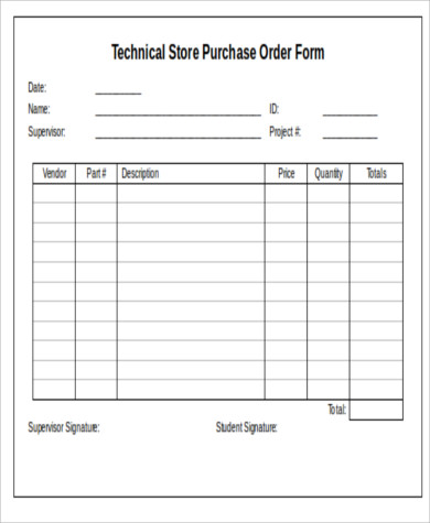 Technical Store Purchase Order Form Doc