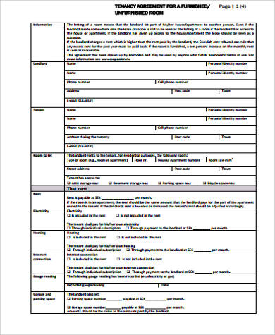 tenancy agreement for a room